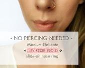 14k Rose Gold Faux nose ring - Medium Delicate Rose Gold fake nose ring - Gold Faux nose hoop - Fake nose hoop - Clip On nose ring