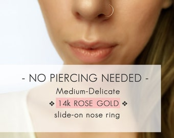 14k Rose Gold Faux nose ring - Medium Delicate Rose Gold fake nose ring - Gold Faux nose hoop - Fake nose hoop - Clip On nose ring