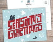 Funky Winter Holiday Postcard SET of 8 - Christmas, Joy, Tis the Season, Peace on Earth, Seasons Greetings, Holiday postcards