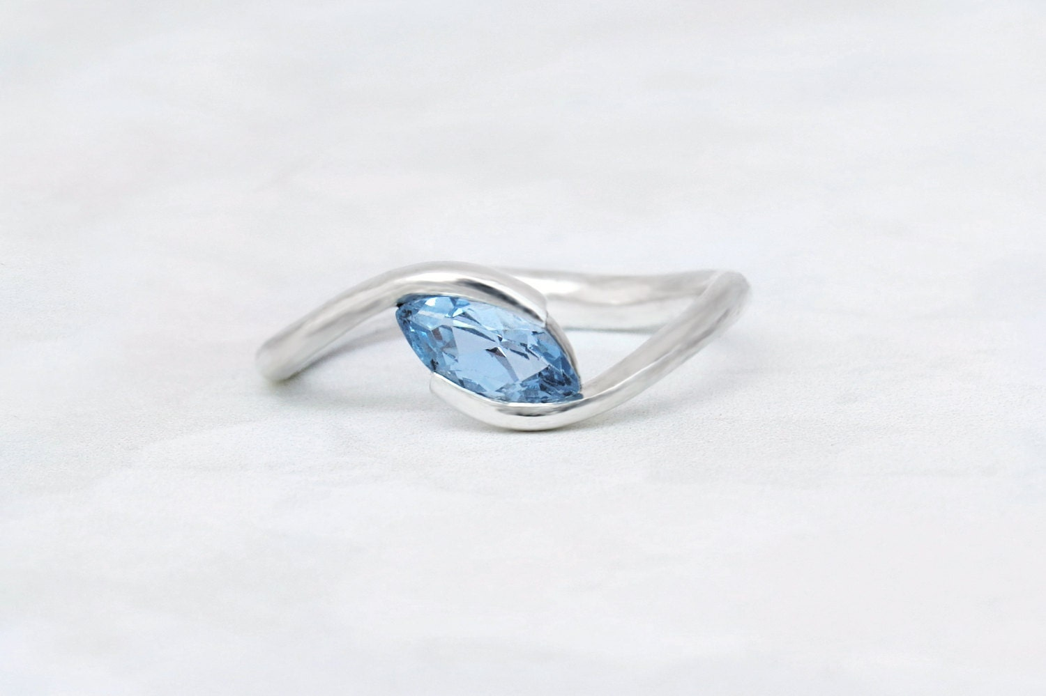 Unique engagement ring Marquise engagement ring Sky blue