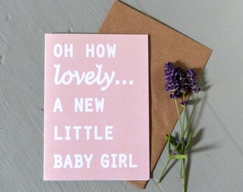 new baby girl card - baby girl cards, oh how lovely, Irish made - blush rose - pink cards, baby girl gifts