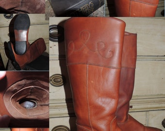 VS000008 Vintage Etienne Aigner Cognac Brown Tall Equestrian Riding Boots Scroll Stitching Flat Heel Rustics -By God Oddities Decor on Etsy