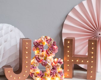 floral letter light - light up letters - wedding sign - marquee lights - rustic wedding