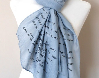 Pink Floyd Scarf. Musical scarf with 'Shine on you crazy diamond' print. Poetry scarf.