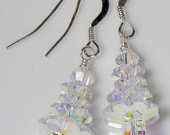 So Sparkly! Swarovski Crystal AB Christmas Tree Earrings