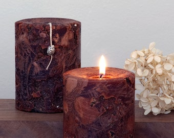 """Brown Candle - Ancient Artifact - 3 x 4"""" - Reddish Brown - Father's Day Gift - Boyfriend Gift - Nature Lover - Woodland Wedding Candle"""