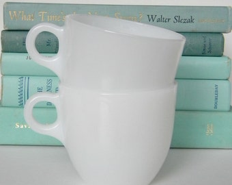"Fire King ""St. Denis"" 1940s milk glass cups, 2"