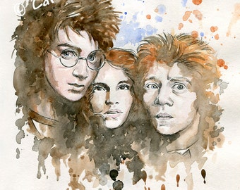 HARRY POTTER ~ 'Harry, Hermione & Ron'. 4 x 6 inch Mounted Print