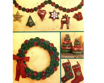 HOLIDAY CRAFTS PATTERN Christmas Stockings Pattern Ornaments Wreath Garland Soft Tree Centerpiece McCalls 6002 UNCuT Crafts Sewing Patterns