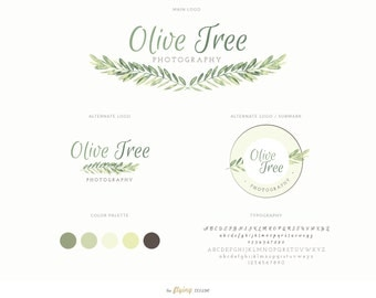 Watercolor Mini Logo Design Branding Kit Package - Olive Branch Laurel Logo for Photographers, Modern Photography Fashion Blog Logo Design