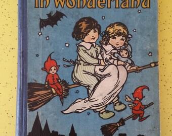 wanderings in wonderland, antique book, vintage book, wonderland stories, collins clear type press,vintage childrens book, story book, retro