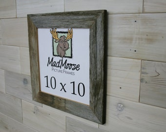 "10x10 Barn Wood [Thin x 2""]  Picture Frame (aka weathered gray old wood square frame, photo frame, farmhouse frame, 10x10 picture frame)"