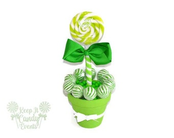 Medium Lime Green Lollipop Centerpiece,  Bridal Shower Candy Centerpiece, Candy Buffet for Sweet 16, Quinceanera Decor, Green Centerpiece