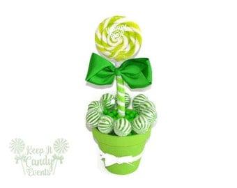 Medium Lime Green Lollipop Centerpiece,  Bridal Shower Candy Centerpiece, Candy Buffet for Sweet 16, Quinceanera Decor, Green Centerpiece