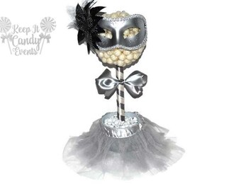 Silver and White Masquerade Ball Lollipop Topiary, Masquerade Centerpiece, New Years Eve Centerpiece, Masquerade Decor, Masquerade Party