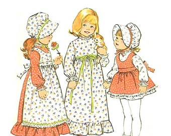 HOLLIE HOBBIE Dress Pinafore Bonnet Sewing Pattern - VINTAGE 1974 Simplicity 6635,  Size 4 -  Two Lengths - Very Gently Used
