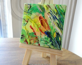 Mini Oil Painting With Easel Original Oil Painting Original Art Abstract Painting Impressionist Small Oil Painting Mini Painting Color Field