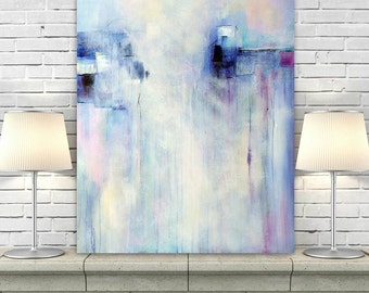 Abstract Print on Canvas, Giclee Print, Lavender Painting, Blue Artwork, Canvas Art Modern Wall Art Print of Original Painting Large Artwork