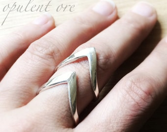 Adjustable Sterling Silver Chevron Ring // Wrap-Around Chevron Band // Double-V Empowering Ring // Elven Power Strength Ring