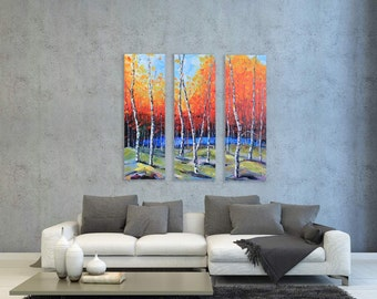 """Birch Tree Painting, Landscape Painting, MADE TO ORDER, 36"""", Large Tree Art, Triptych Painting, Three Panel Art, Textured Art,Large Painting"""