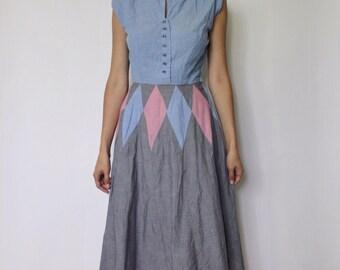 Vintage 1950s Harlequin Print Dress | 1950s Dress | Diamond Print Dress | Doris Dodson Dress | XS