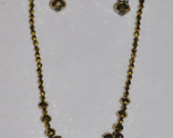 Necklace Bracelet and Earrings Set Gold Glass Crystal Rhinestone  #441