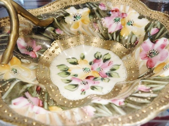 1800s Nippon Moriage Nappy Lemon Dish Victorian Hand Painted Porcelain Gold Beading Bead Floral Flowers Japan Antique Porcelain Dish Home