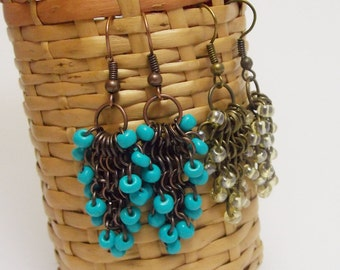 Gifts for aunt gift for her earrings handmade earrings turquoise earrings  romantic jewelry tassels earrings lace earrings everyday earrings