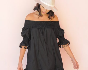 Mimi Summer Dress - Boho Dress - Black Cotton Tassel - Off Shoulder Dress - Code: KH006 (A)