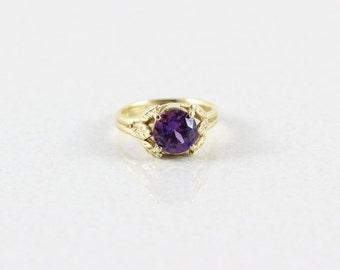 14k Yellow Gold Purple Sapphire Ring Size 5 3/4