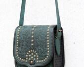 READY TO SHIP emerald green black tooled leather bag - shoulder bag - crossbody bag - ethnic bag - messenger bag - for women - capacious