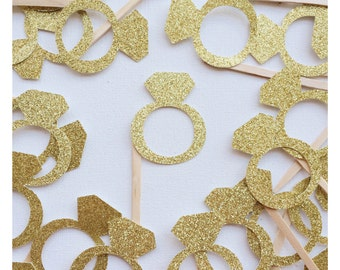 Gold Glitter Diamond Ring Cupcake Topper ; Engagement Ring Cake Decor ; Bachelorette Party Cake Decoration ; Bridal Shower Cupcake Toppers