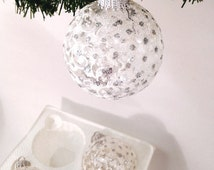 "glittery silver white glass ornaments, set of 4 Krebs Victorian, extra large 2 1/2"" balls; USA made, yesteryears Christmas tree holiday"