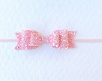 Pink Glitter Bow | Pink Glitter Bow Headband | Baby Girl Pink Bow Headband | Light Pink Glitter Headband | Pink Sparkly Bow | Double Bow