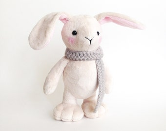 Plush bunny toy - Cute stuffed animal bunny rabbit - Bunny rabbit softie - Stuffed bunny -  Handmade plush toy - Plushie - Stuffed animal