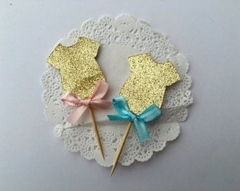 Gender Reveal Cupcake Toppers/Gold Pink and Blue Gender Reveal/Blue and Pink Cupcake Toppers/ Baby Shower Cupcake Toppers/ Gender Reveal