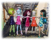 """2 Pc. Handmade Regular Sized Monster High Clothes """"Back to School"""" Dress & Purse. Only 1 of each  available. Purple, Orange, Pink, or Blue."""