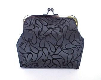 Clutch Bag, Kisslock Purse, Frame Purse, Evening Bag, Wedding Bag, Bridesmaid Bag, Black Fabric Clutch, Black Nickel Frame, UK Seller