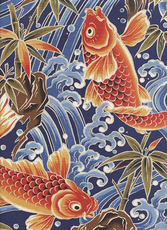 Koi in rough waters navy blue asian japanese fabric by the for Koi fish print fabric