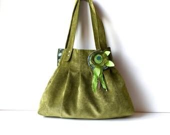 Hobo Shoulder Bag / Shoulder Bag / Vegan Shoulder Bag/ Vegan Hobo Bag/ Green Bag/ Floral Tote Bag/ Green Hobo Bag/ Boho Shoulder Bag/ Flower