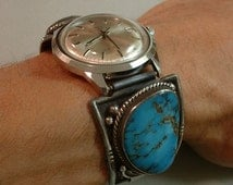 Rare BLUE DIAMOND Turquoise VINTAGE Native American Wrist Watch Band Tips Automatic Wristwatch Windup Sterling Hallmarked c.1960s