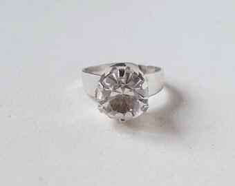 Vintage modernist silver and rock crystal ring, Hedbergs, Sweden, 1974 (F502)