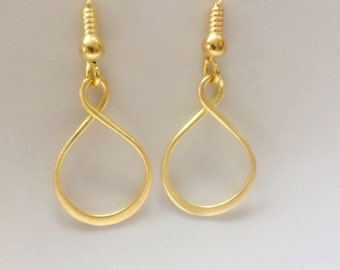 Gold Infinity Earrings, Yellow Gold Earrings, Yellow Gold Infinity Earrings, Infinity Hoop Earrings, Gift for Her, Gold Jewellery