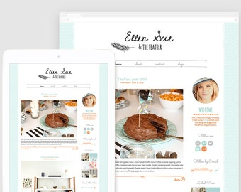 Cute Blogger Template — Premade Blogger Design — Hand drawn Feather —  Feminine Blog — Lovely Blog Template — Girly Blog Template / Ellen