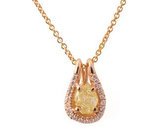Raw Diamond Pendant, 18K Rose Gold and Rough Diamond Pendant, Unique Pendant, rough diamond necklace, raw diamond necklace