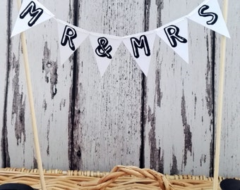 Mr and Mrs Wedding Cake Topper Miniature Bunting Decoration