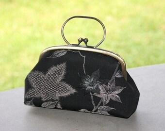 Black Clutch / Vintage kimono bag/ floral pattern/ Antique gold purse frame/hand made