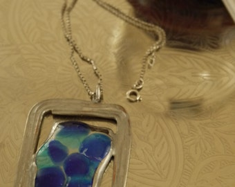 Soldered fused glass pendant