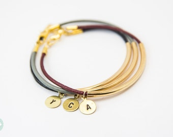 Gold tube Bracelet, leather bracelet, leather bangle, initial bracelet, bangle, gold tube, leather initial bracelet, friendship bracelet