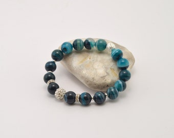 Agate bracelet, green agate, polished agate, green bracelet, stone bracelet, beaded bracelet, semi-precious stones, natural stone bracelet